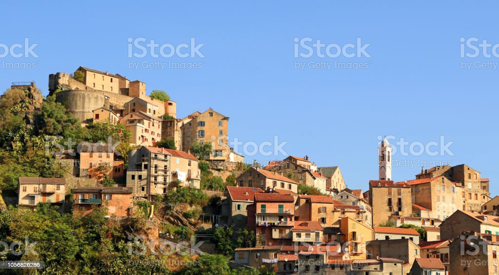 Corte, city in the mountains stock photo