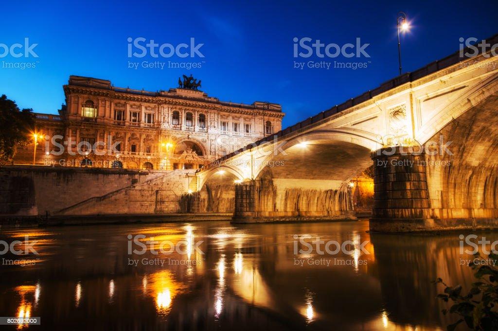 Corte Suprema di Cassazione at night. Rome, Italy stock photo