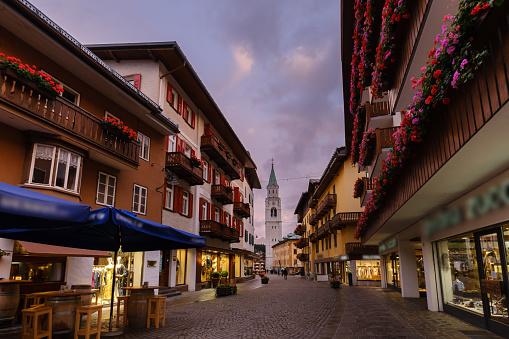 Cortina d'Ampezzo, town center at dusk
