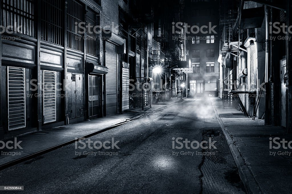 Cortlandt Alley by night in NYC stock photo