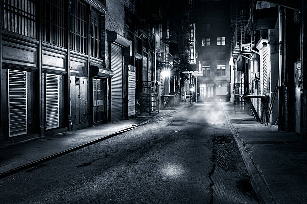 Cortlandt Alley by night in NYC Moody monochrome view of Cortlandt Alley by night, in Chinatown, New York City alley stock pictures, royalty-free photos & images