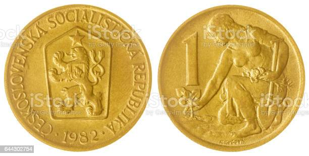 1 coruna 1982 coin isolated on white background, Czechoslovakia