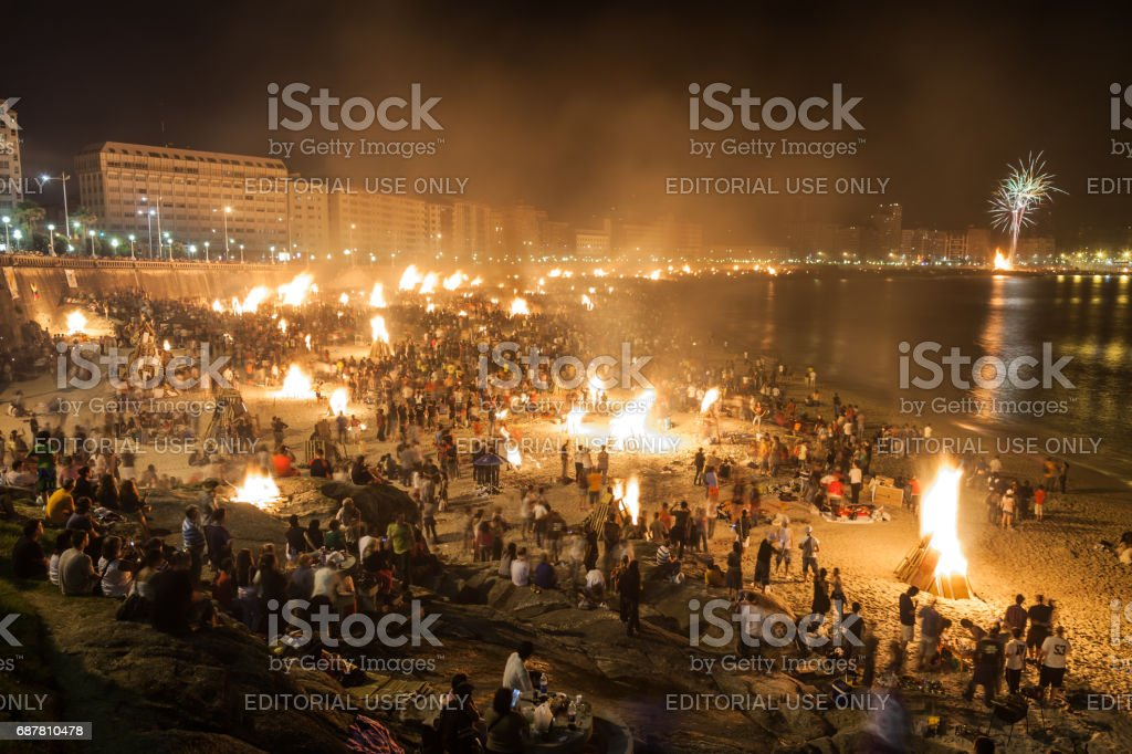 Corunna Bonfires of Saint John stock photo