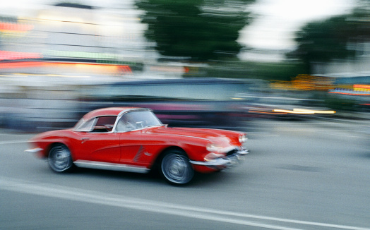 A beautifully restored classic Corvette (1962). The original American sports car, Cross-processed & strong grain added to create film atmosphere