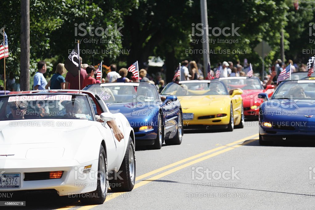 Corvette Chevrolets in July 4th Parade stock photo