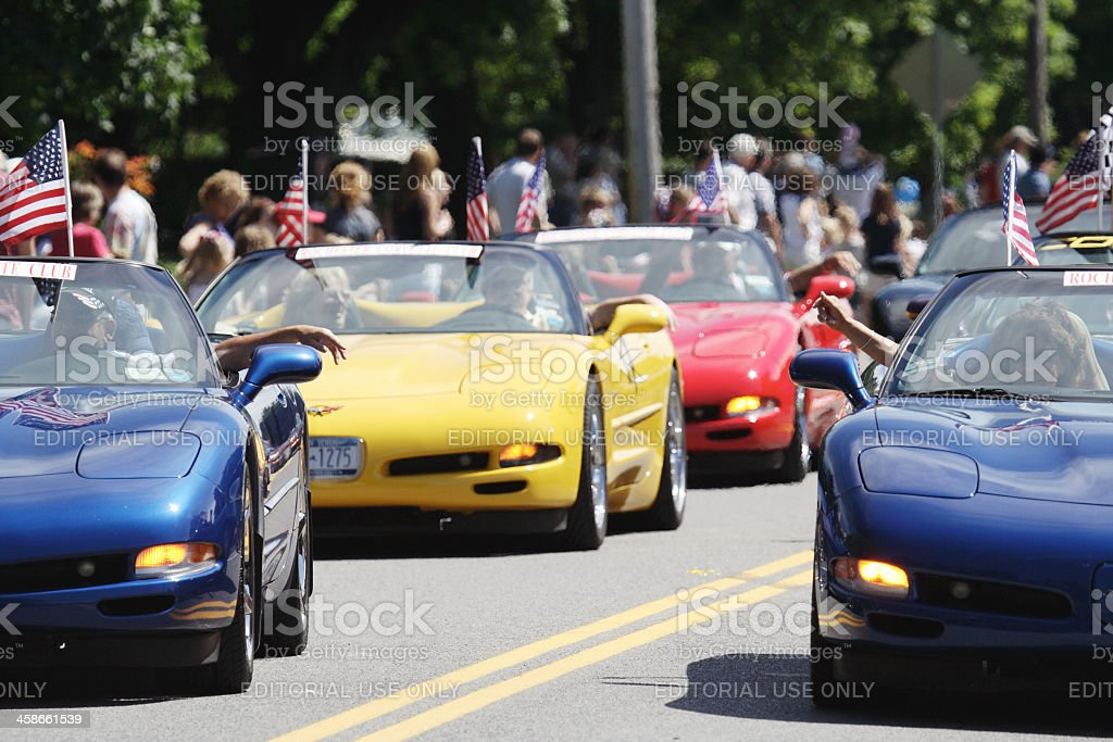 Corvette Club in July 4th Parade Rochester New York stock photo
