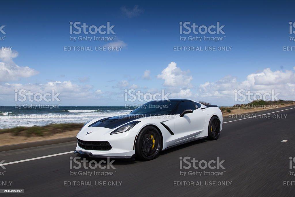 Corvette Cruising by the Beach stock photo
