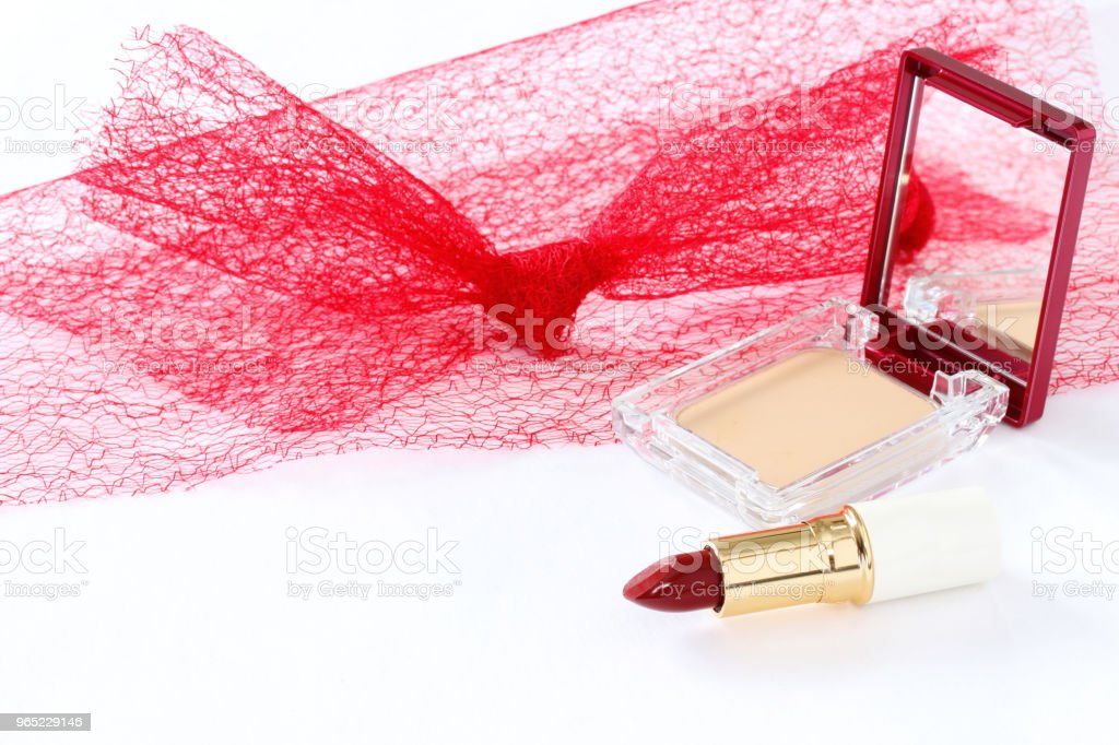 Cosmetic  and red tulle zbiór zdjęć royalty-free