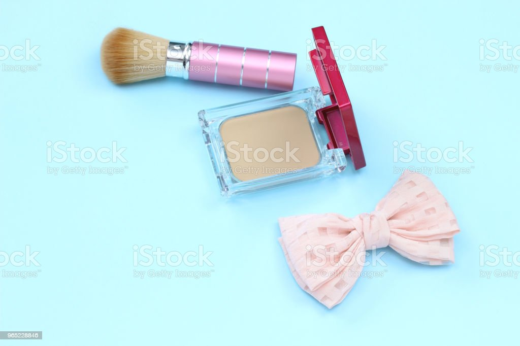 Cosmetic and ribbon royalty-free stock photo