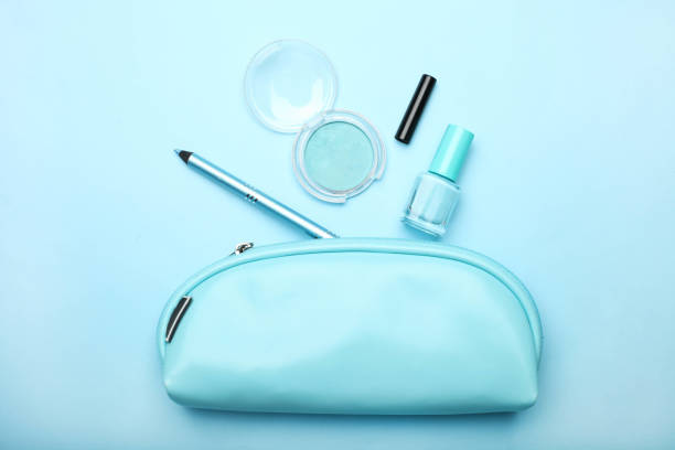 cosmetic bag with set of women's cosmetics stock photo