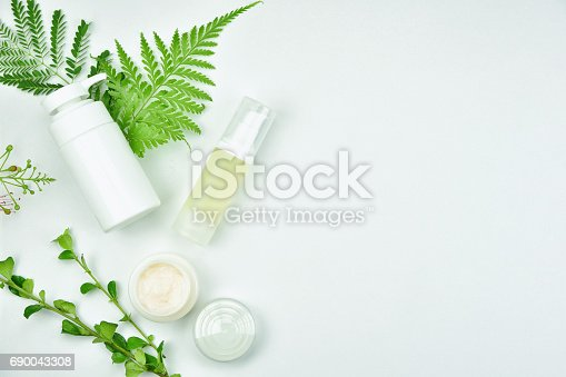 istock Cosmetic bottle containers with green herbal leaves, Blank label package for branding mock-up, Natural organic beauty product concept. 690043308