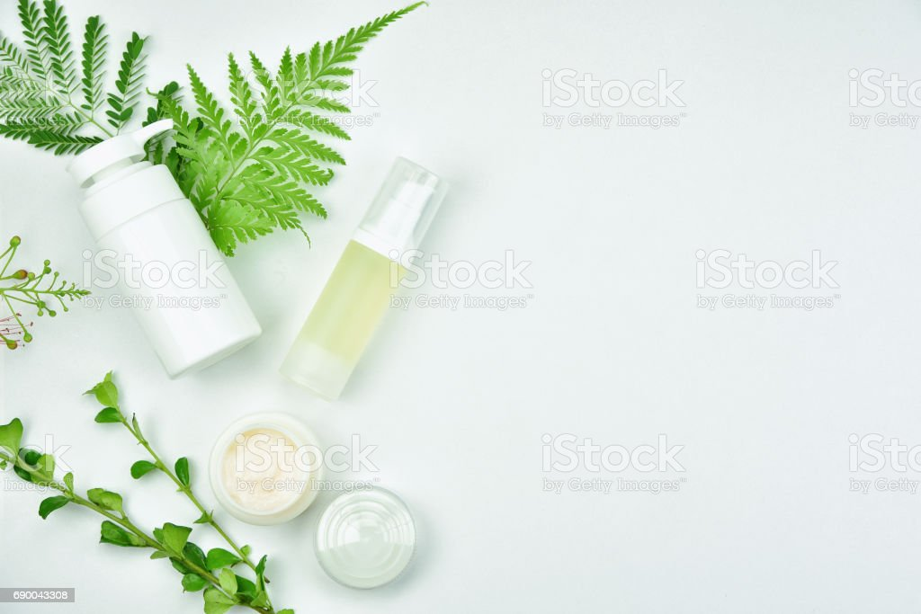 Cosmetic bottle containers with green herbal leaves, Blank label package for branding mock-up, Natural organic beauty product concept. stock photo