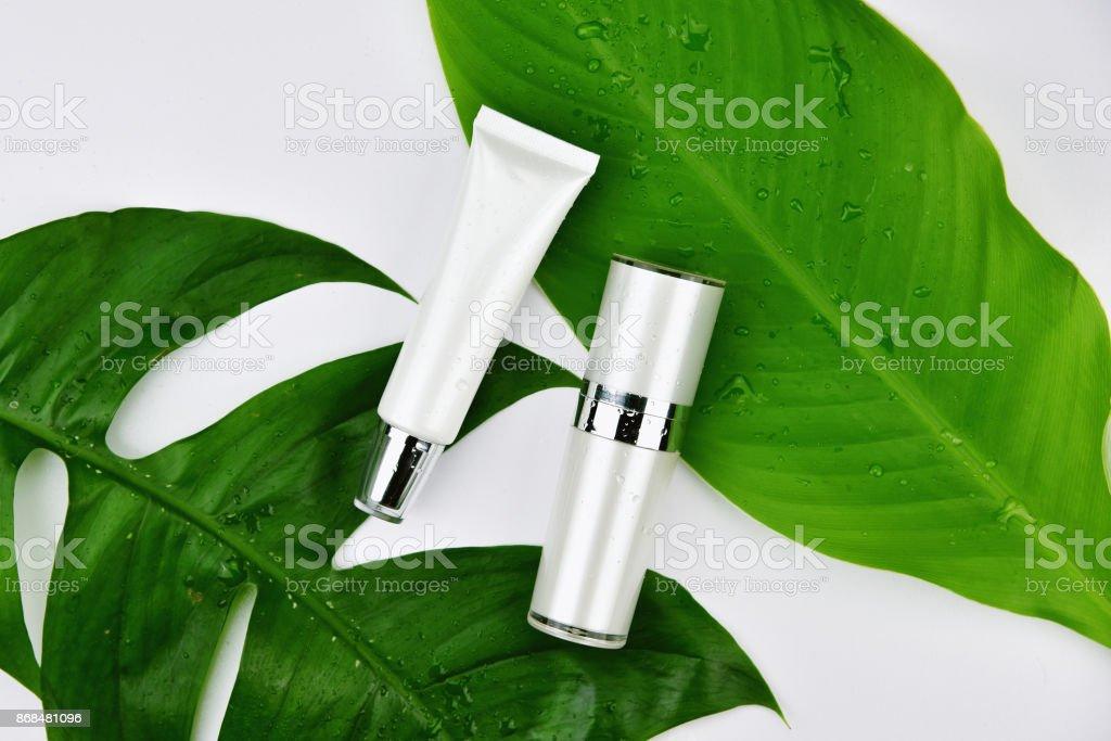 Kosmetische Flasche Behälter mit grünen Kräuter Blätter, leere Beschriftung für das branding Mock-up, natürliche Schönheit Produktkonzept. – Foto