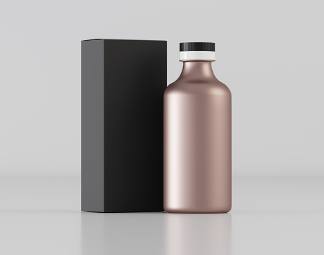 istock Cosmetic bottle with box mockup - 3D illustration 1170082510