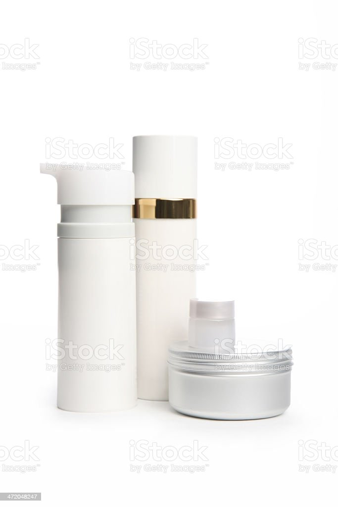 Cosmetic bottles and cans royalty-free stock photo