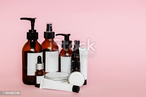 istock Cosmetic bottles and containers with blank labels 1164082290