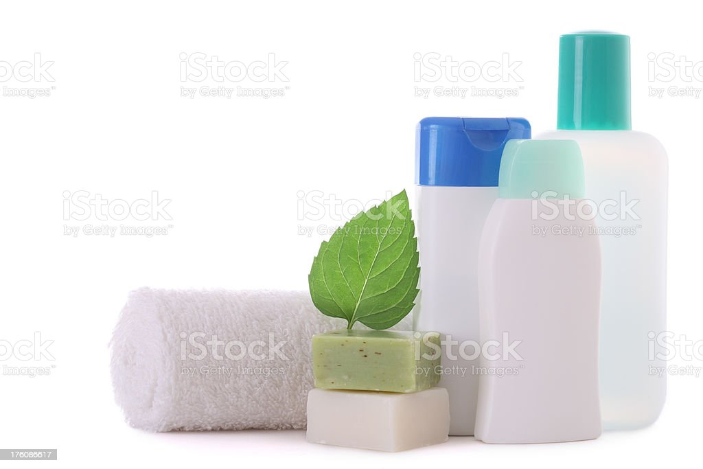 Cosmetic Bottles with towel royalty-free stock photo
