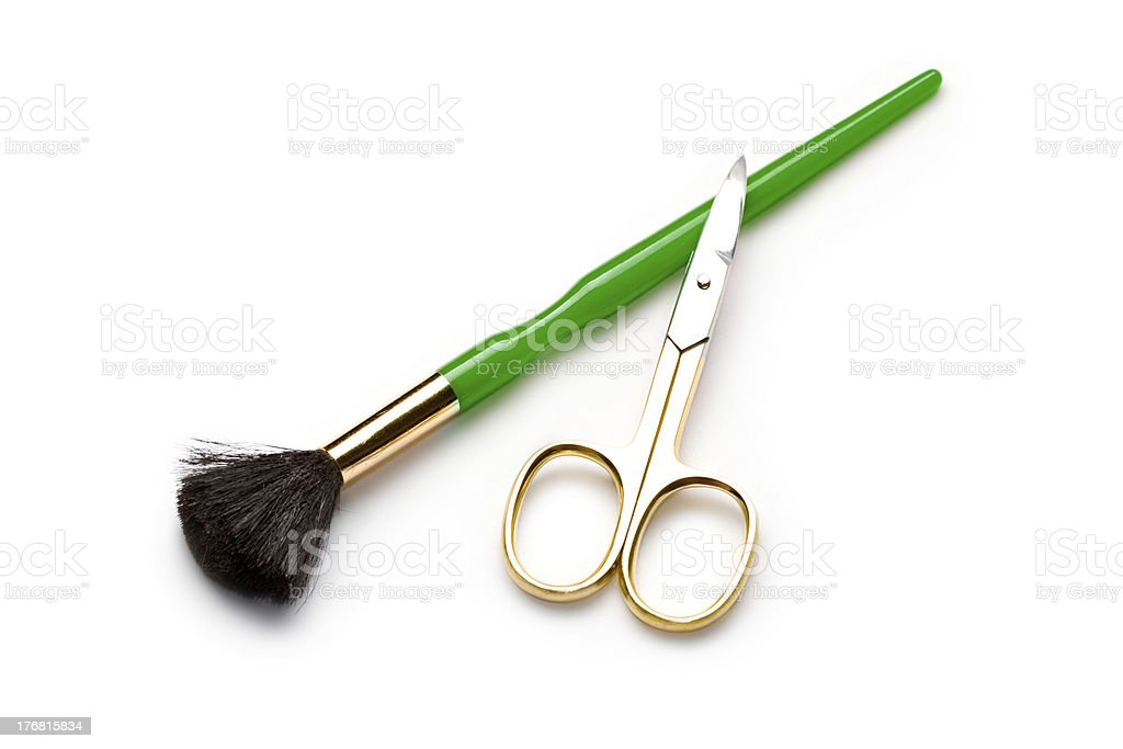 Cosmetic brushe and nail sciccors stock photo