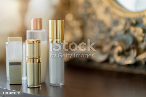 istock cosmetic clean clear glass bottle on powder dressing table with free copy space 1139459183