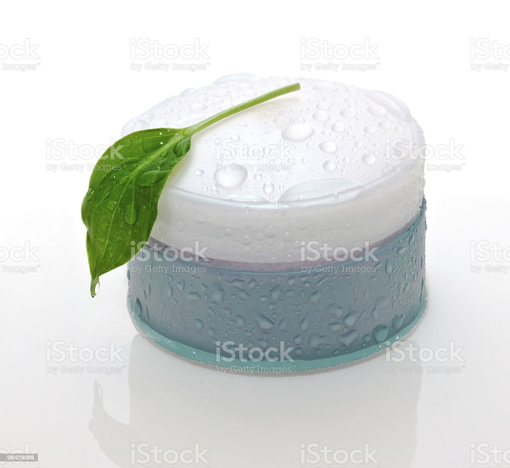 cosmetic cream and green leaf royalty-free stock photo