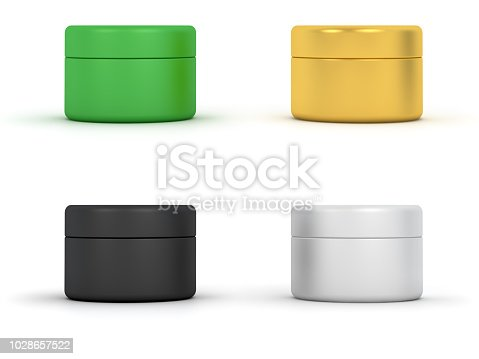 Cosmetic Cream Jars. Digitally Generated Image isolated on white background