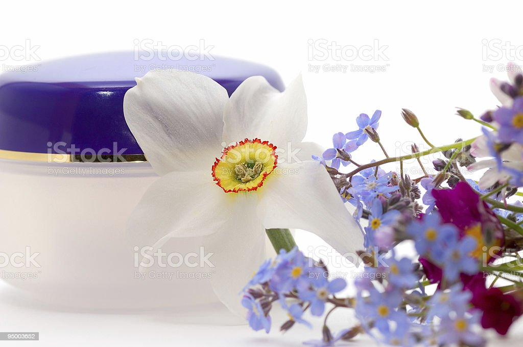 cosmetic cream with flowers royalty-free stock photo