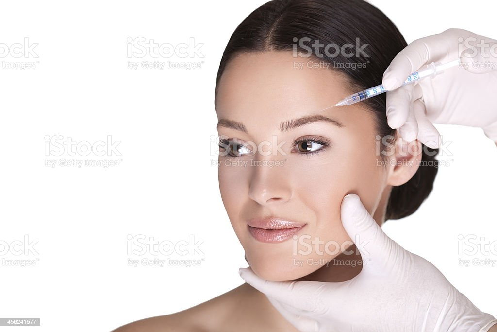 Cosmetic injection of botox stock photo