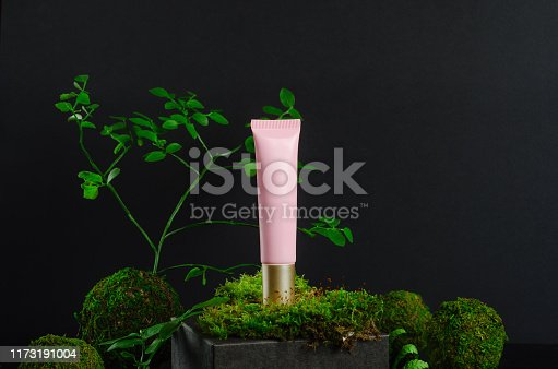 istock Cosmetic lotion tube and greenery mockup side view. Eco friendly cosmetology product, organic moisturizing cream banner concept. Pink container and kokedama composition. Skincare, makeup accessory 1173191004