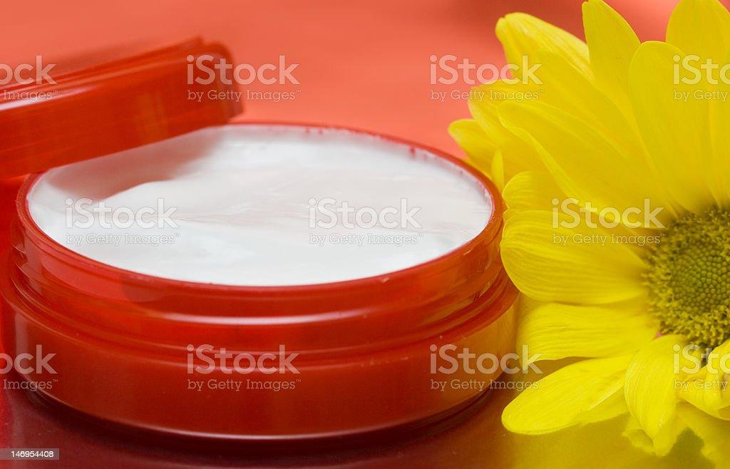 cosmetic moisturizing cream with chamomile royalty-free stock photo