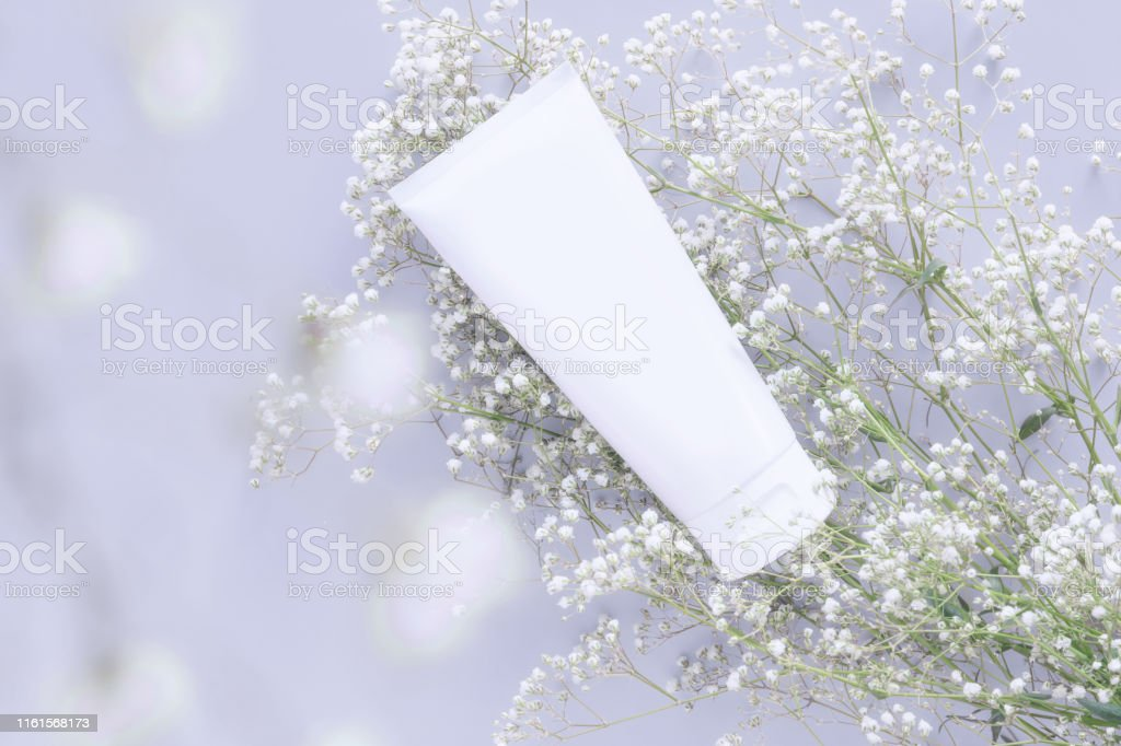 cosmetic nature organic skincare concept. whitening cosmetic in white...