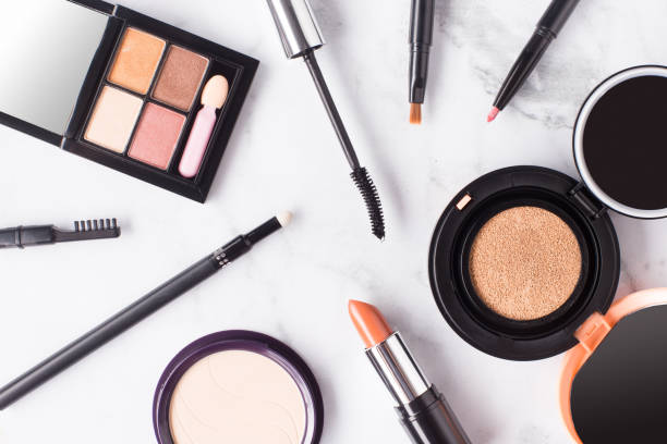 cosmetic on marble - make up stock photos and pictures