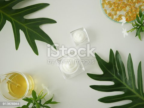istock Cosmetic package containers . natural organic beauty product concept mock up with green leaves,herbal . Blank bottle for label skincare. isolated white background.top view. 912826944