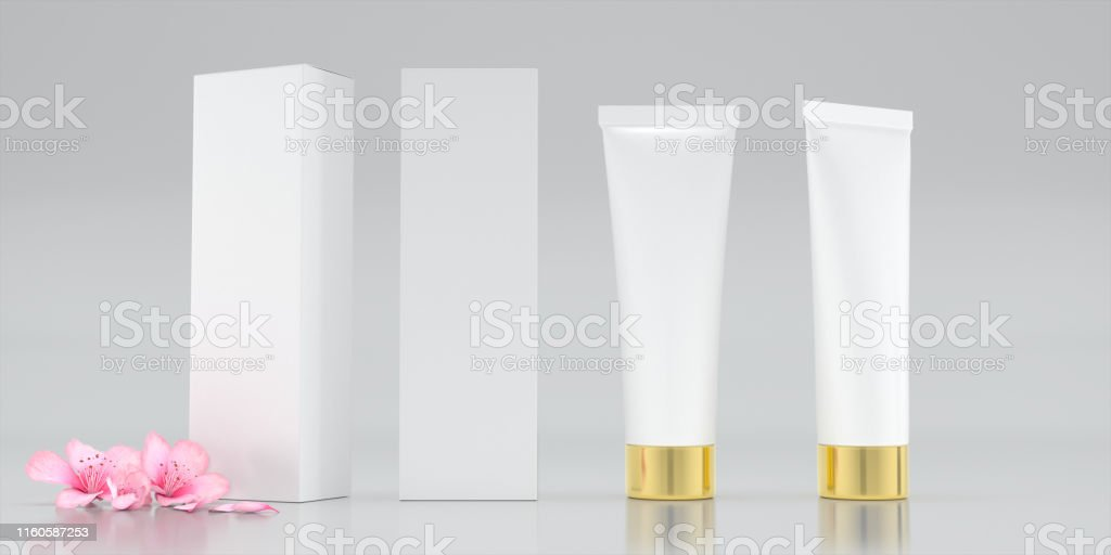 Cosmetic package serum and Serum box isolated on white background....