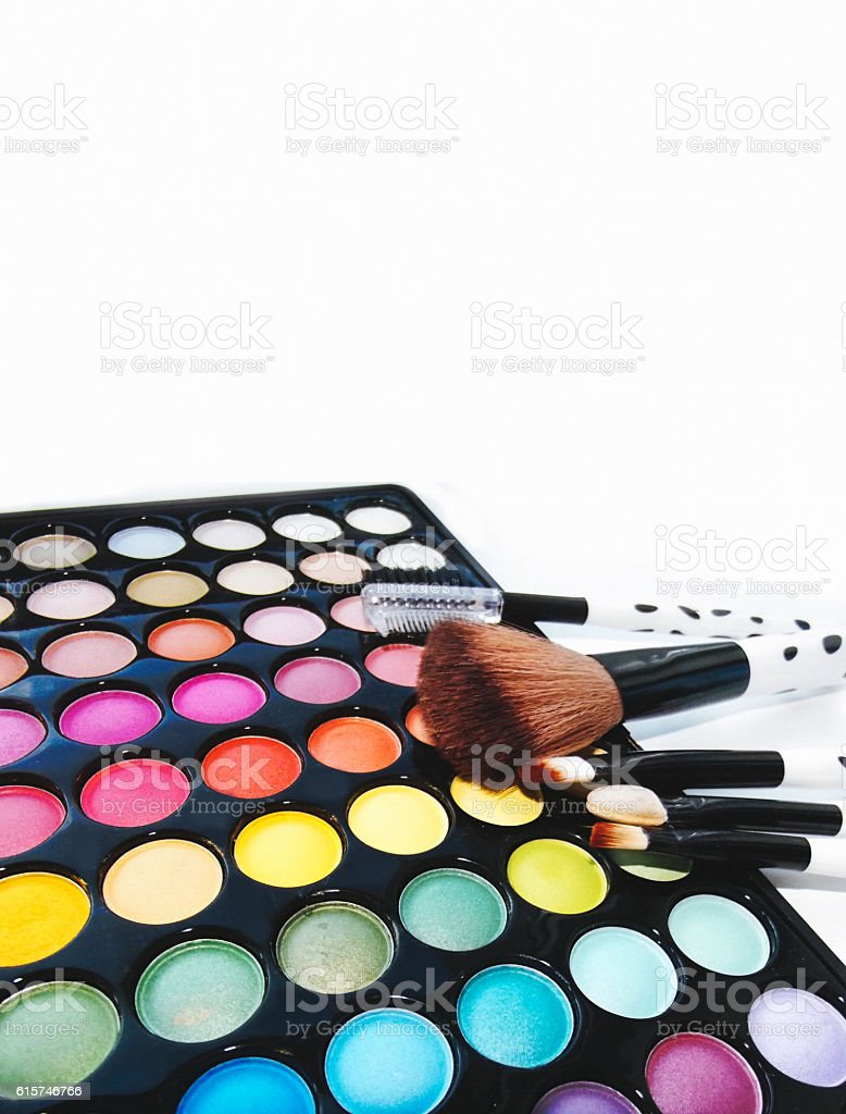 Cosmetic palette shadows with space for text stock photo
