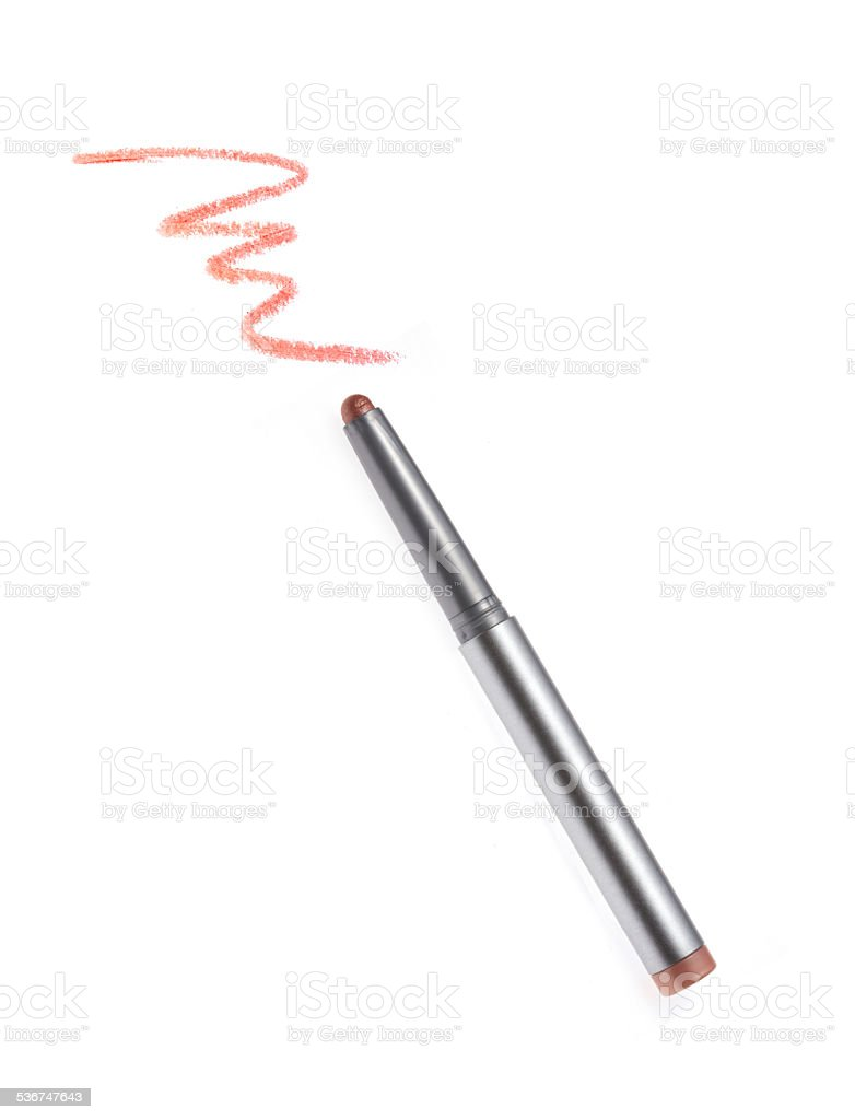 Cosmetic pencil and stroke stock photo