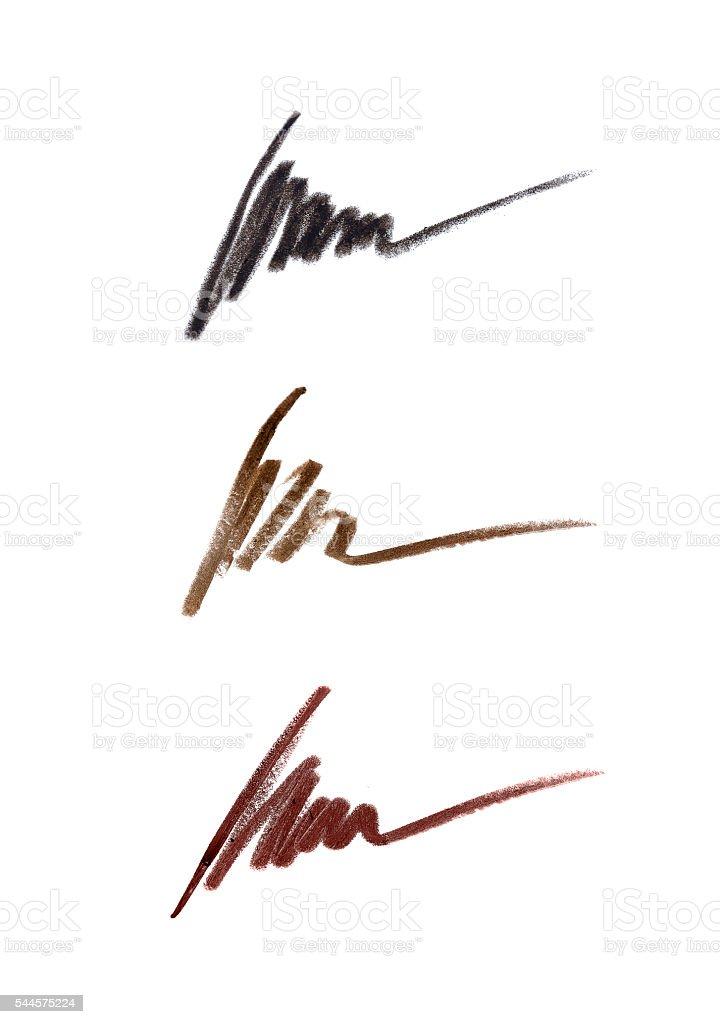 Cosmetic pencil strokes stock photo