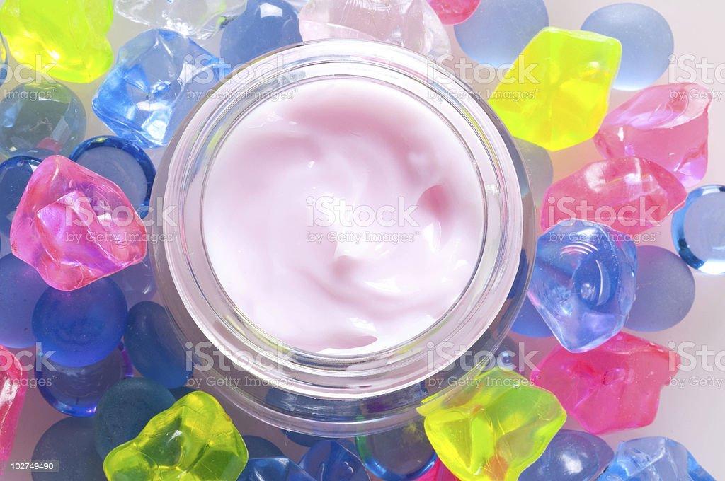 Cosmetic pink cream stock photo