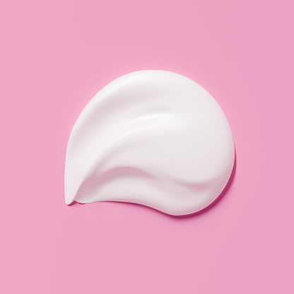Cosmetic product smear white moisturizing lotion isolated on pink, squeezed out and smeared portion of skincare cream product testing. 3d rendering