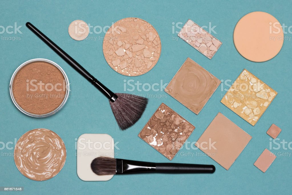 Cosmetic products and accessories for corrective makeup stock photo