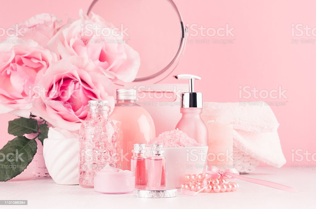 Cosmetic products for aromatherapy, spa salon - essential rose oil,...