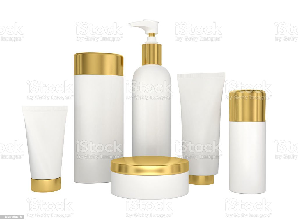 Cosmetic products isolated on white royalty-free stock photo
