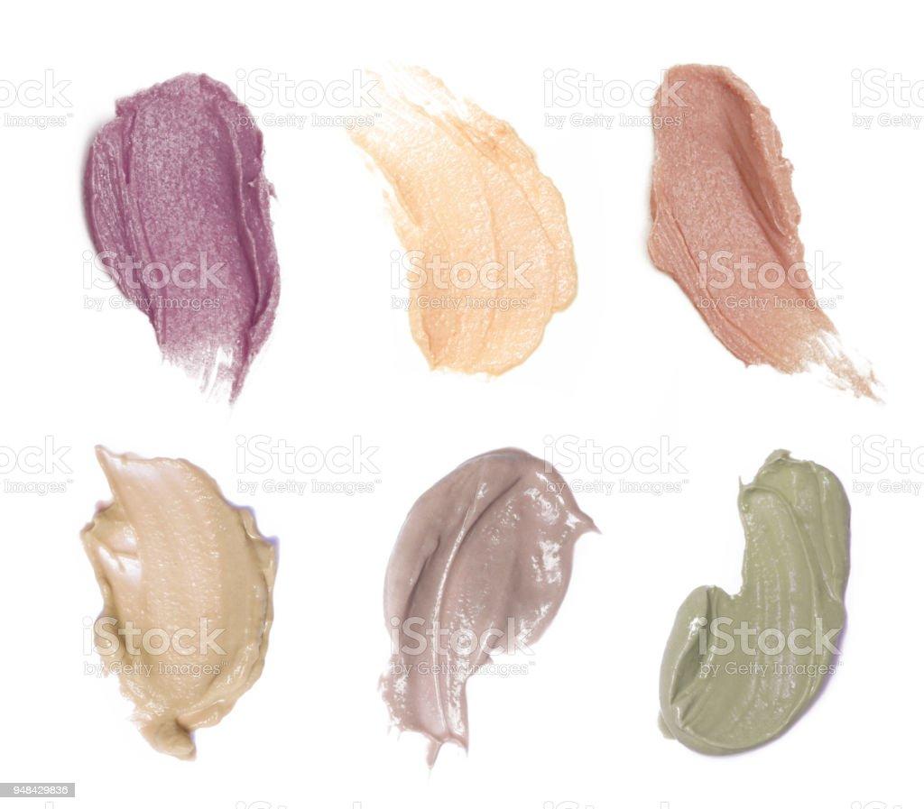 Kosmetik Proben auf weißen Zeitmessung – Foto