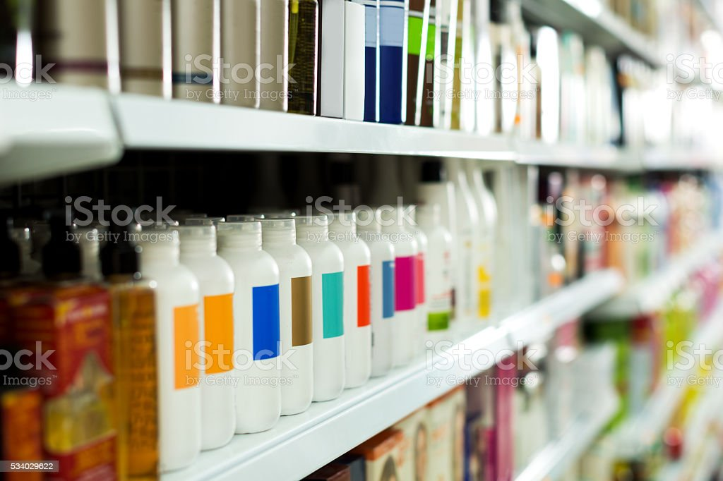 Cosmetic section with conditioners stock photo