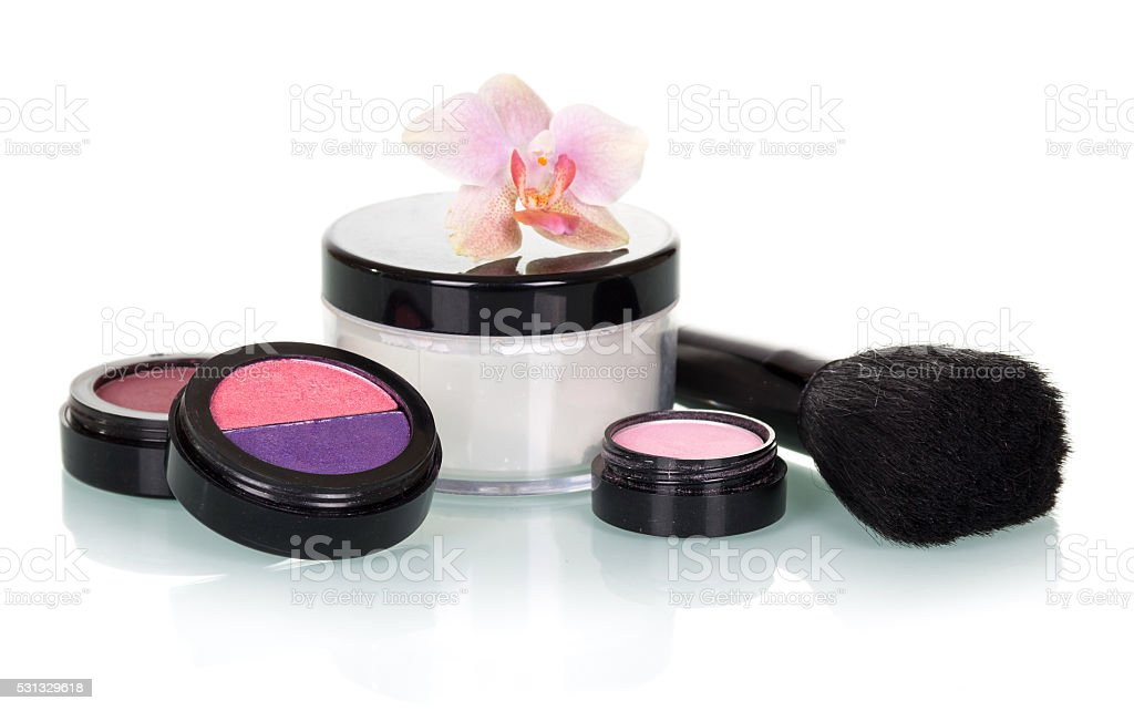 Cosmetic set for makeup isolated on white stock photo