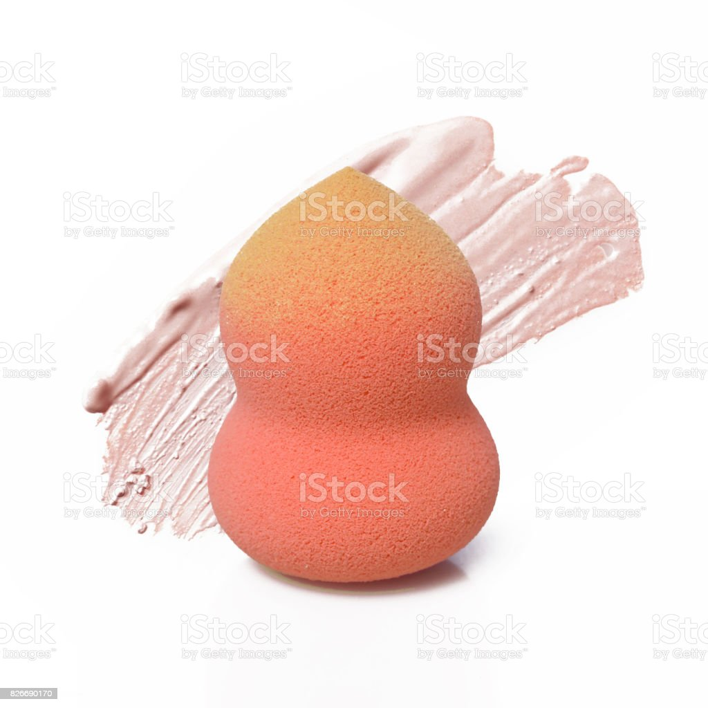 Cosmetic sponge with makeup samples stock photo