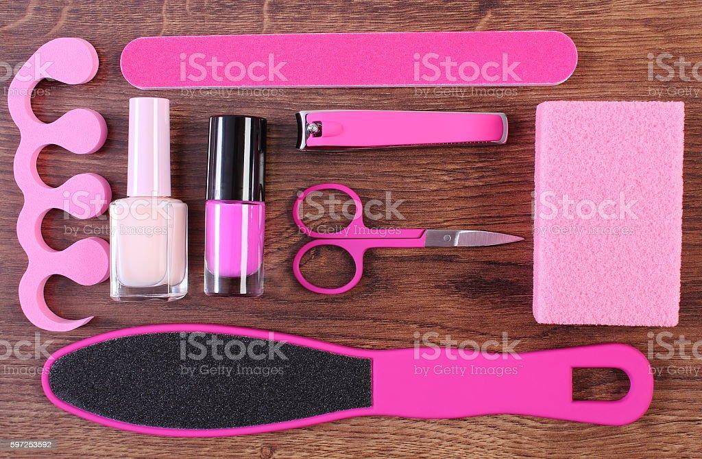 Cosméticos e acessórios para manicura ou pedicura - foto de acervo