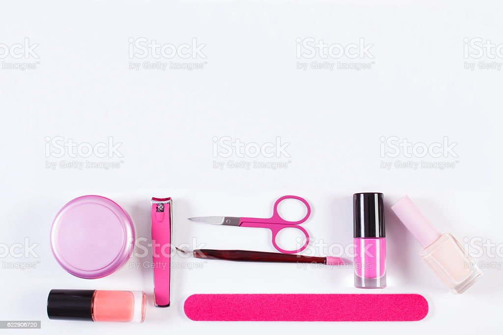 Cosmetics and accessories for manicure or pedicure stock photo