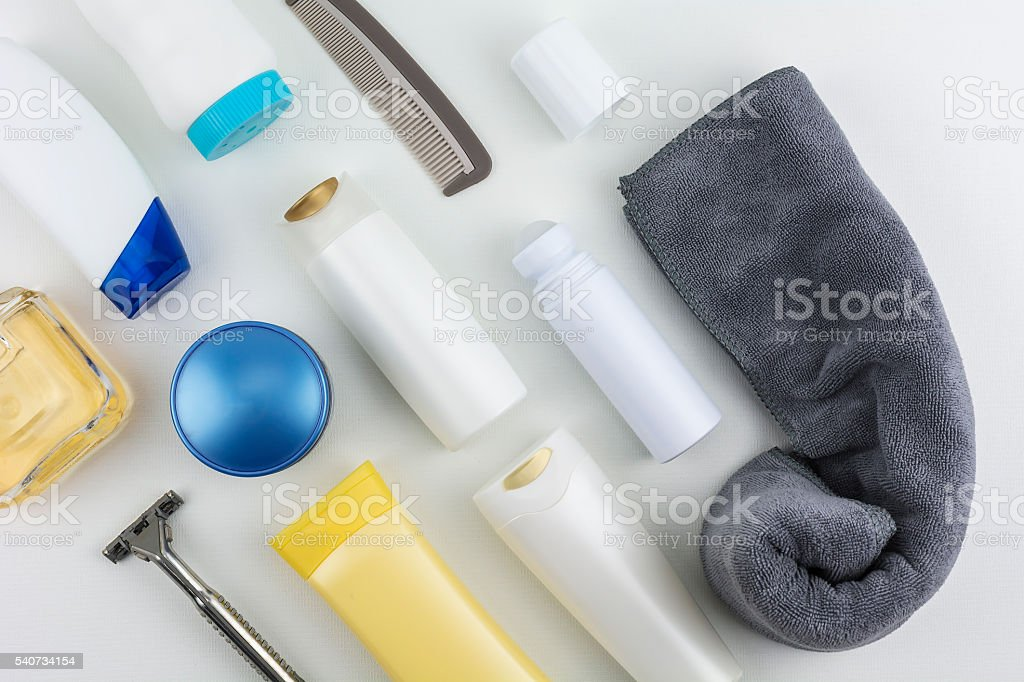 Cosmetics and body care products stock photo