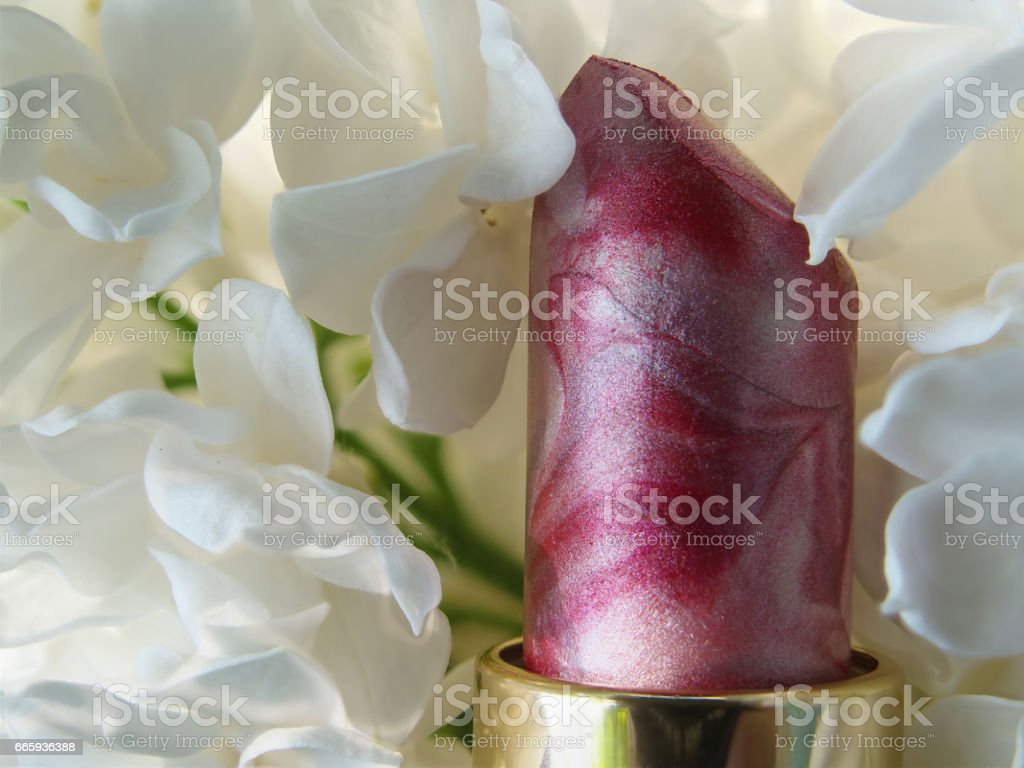 cosmetics and lilac blossom , tube of pearl Lipstick on white Lilac flowers background stock photo