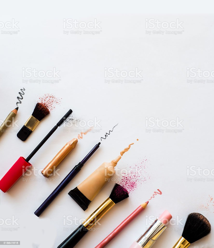 cosmetics and makeup brushes stock photo